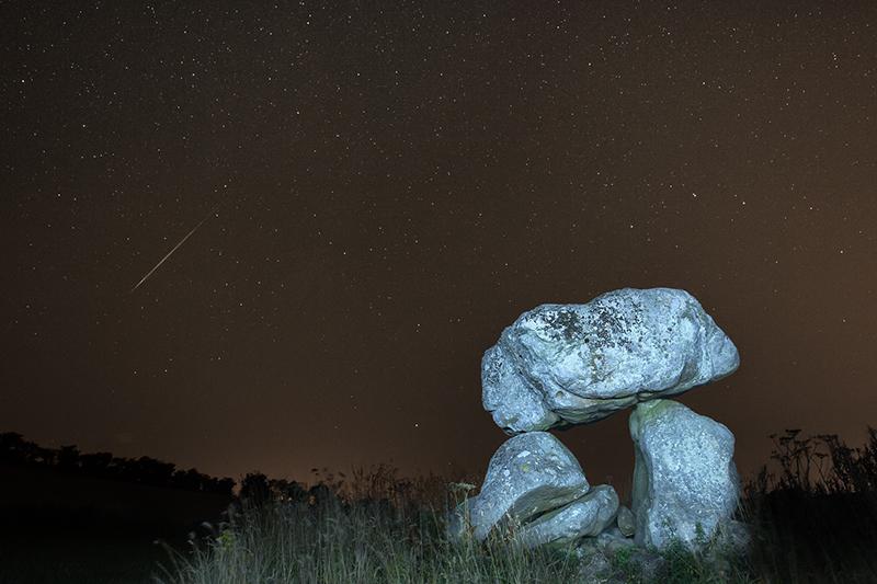 Perseid meteor over Devil's Den, Wiltshire