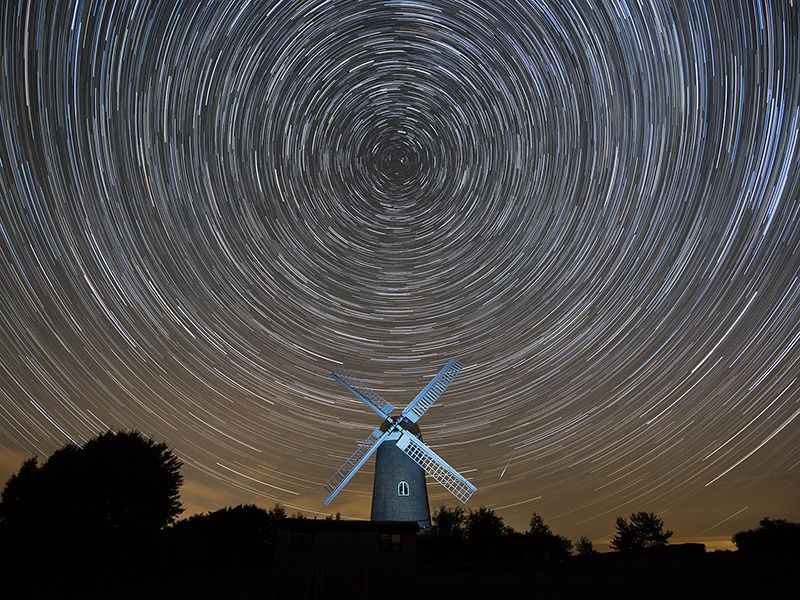 Star trails over Wilton Windmill