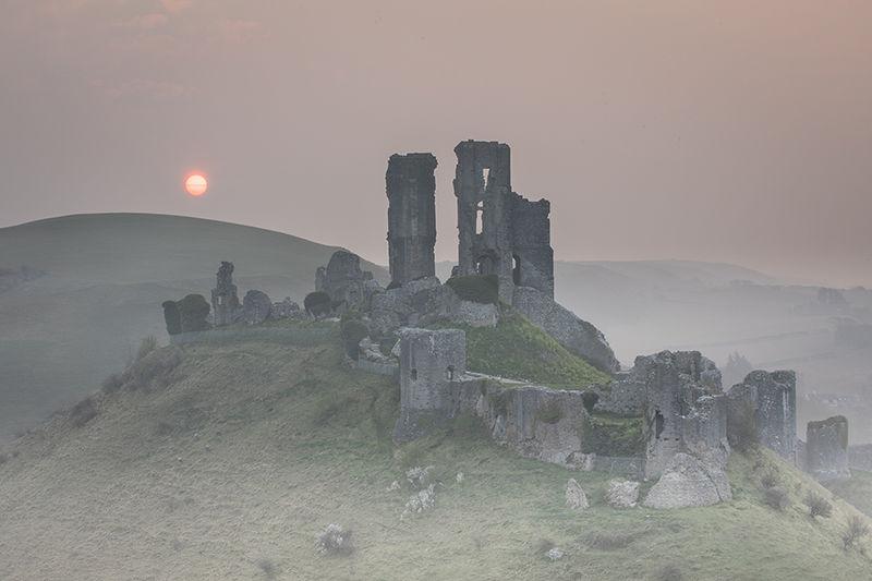 Corfe Castle at sunrise
