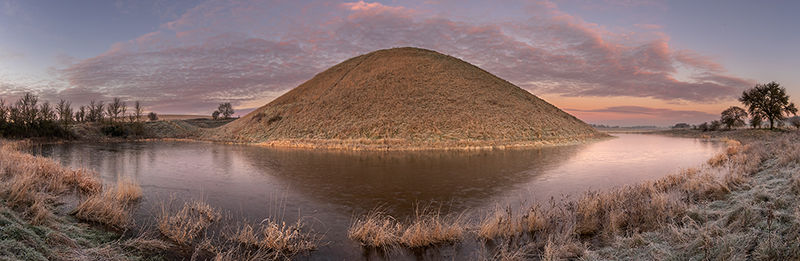 Silbury Hill with frozen moat