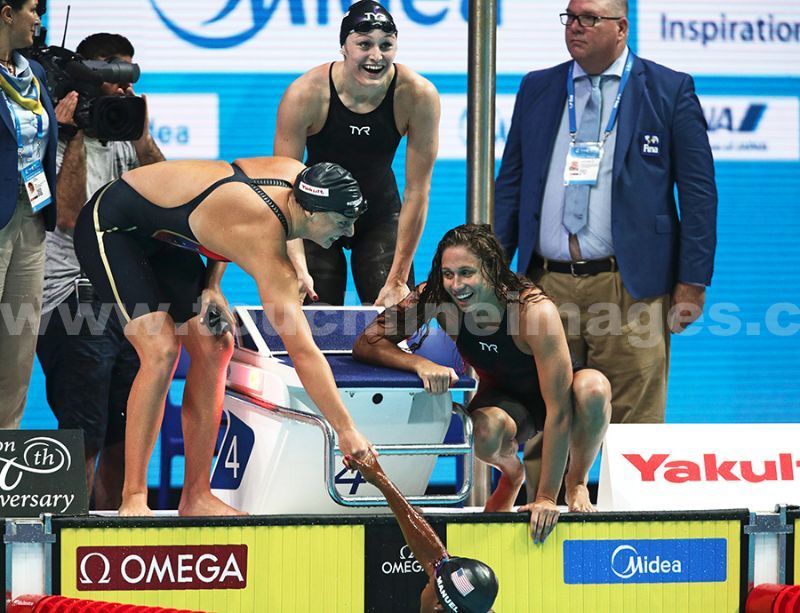 The USA replay team win the Womens 4x200 medley in Budapest