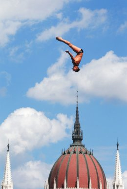 The Mens 27m High Diving event in Budapest
