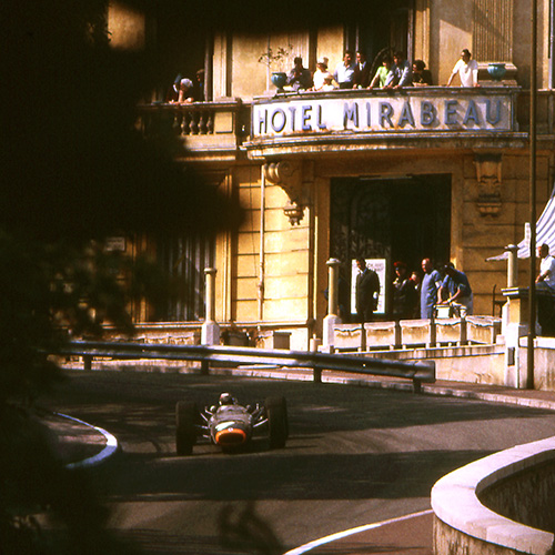 Jackie Stewart BRM passes through Mirabeau, Monaco 1967