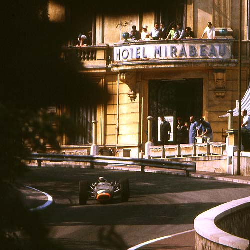 Jackie Stewart BRM through afternoon shadows - Monaco 1967