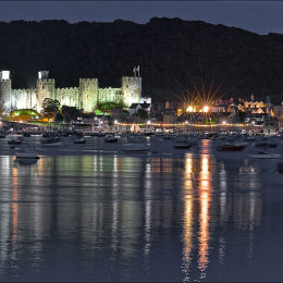 Conwy Castle. Night Harbour.
