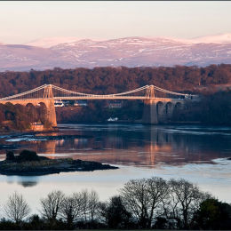 Menai Straits Bridge At Sunset. North Wales.