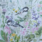 Coal tits and wild flowers (Sold)