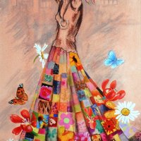 Girl with the beautiful skirt (sold)