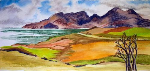 Janet Waters:<br><I>Mountains of Rhum from Eigg, Scotland</I>