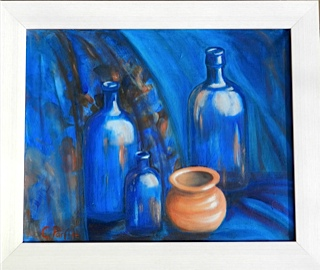 Cathy Parfitt:<br><I>Study in Blue & Terracotta</I>