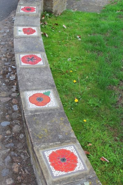 WW1 centenary commemoration memorial poppy mosaics installation 'Poppies for Tommy' in Easingwold, North Yorkshire
