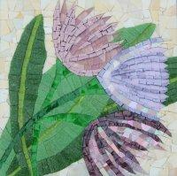 TRIO OF FLOWERS MOSAIC£190 incl. p&p (framed)