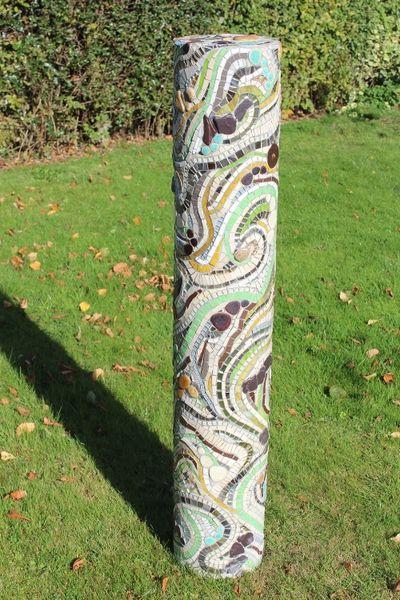 3D sculptural garden mosaic column