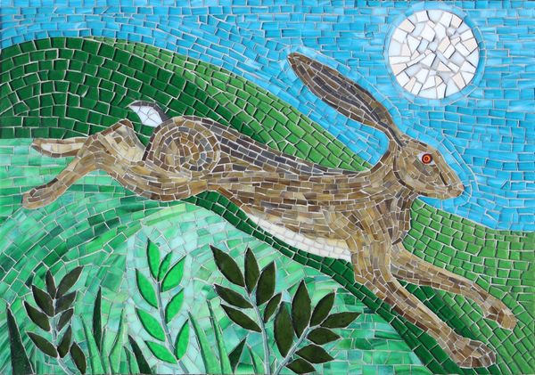 Hare and moon mosaic commission for private garden