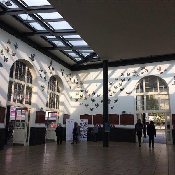 Hull City of Culture 2017 mosaic birds 'Fly to Freedom' commission Paragon Interchange railway station