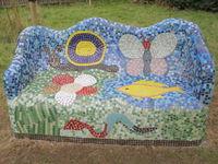 Gaudi style bench school mosaic