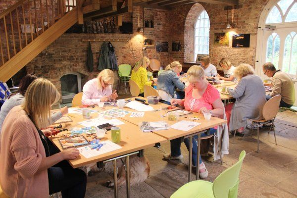 Mosaic workshop with adults facilitated by Sue Kershaw