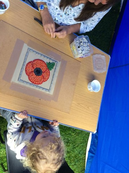 WW1 centenary commemoration memorial poppy mosaics installation 'Poppies for Tommy 2018' in Easingwold, North Yorkshire