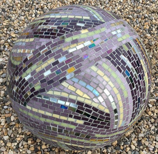 3D sculptural garden mosaic sphere