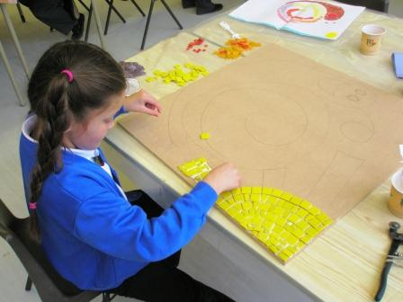 Adding the sun to a school mosaic