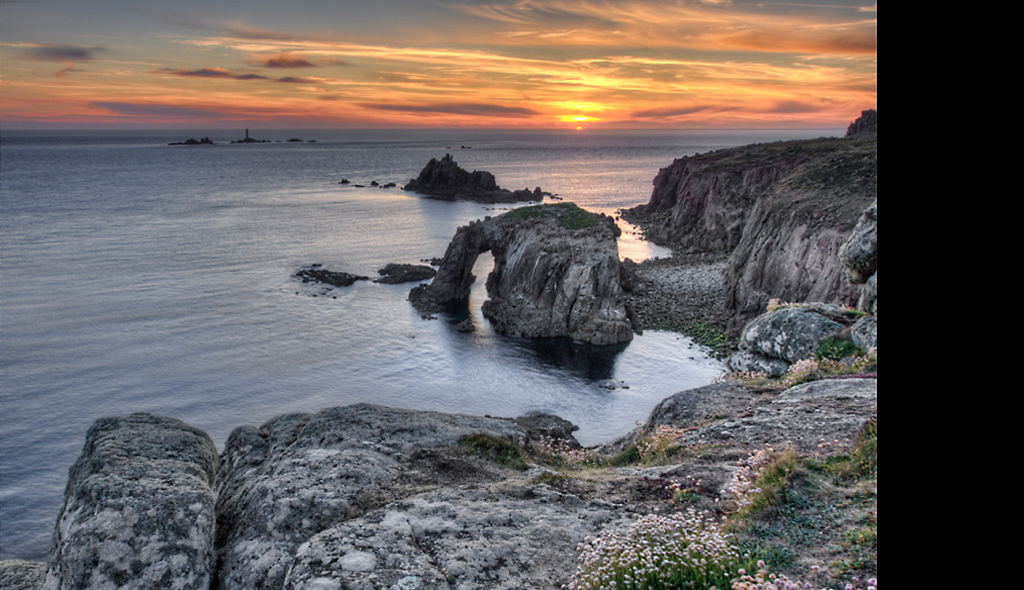 Lands End Cornwall at Sunset