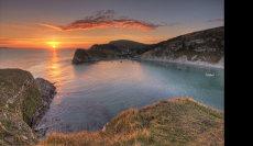 Lulworth Cove Dorset at Sunset