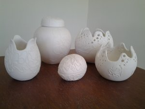 White earthenware forms