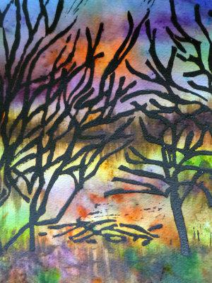 Lino print on Brusho 1