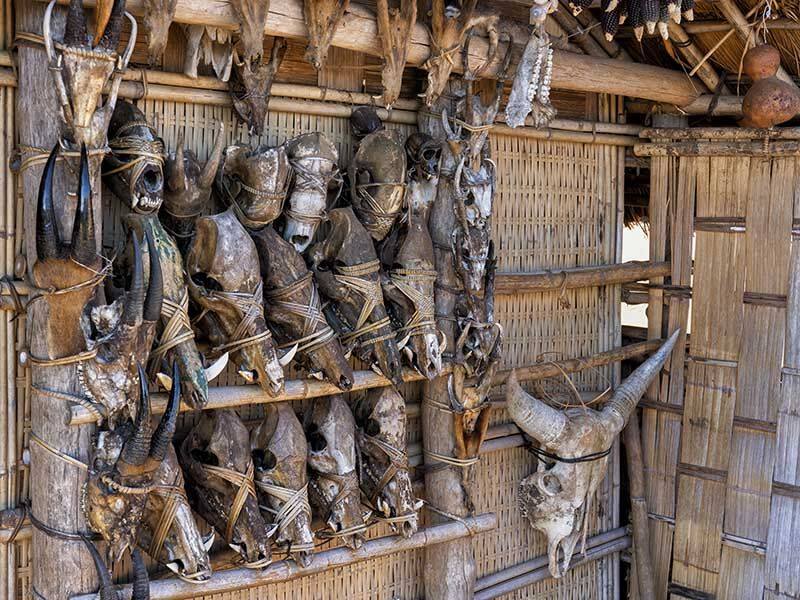 A Chin house with hunting trophies