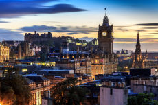 Edinburgh Castle and Balmoral Clocktower in the twilight