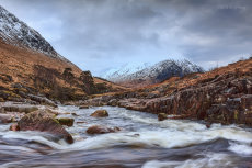 The fast flowing waters of the River Etive