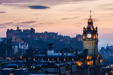 Edinburgh Castle and Balmoral Clocktower sunset
