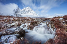 Buachaille Etive Mòr and the waterfall Winter Long Exposure
