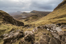 Gazing down the gully at the Quiraing