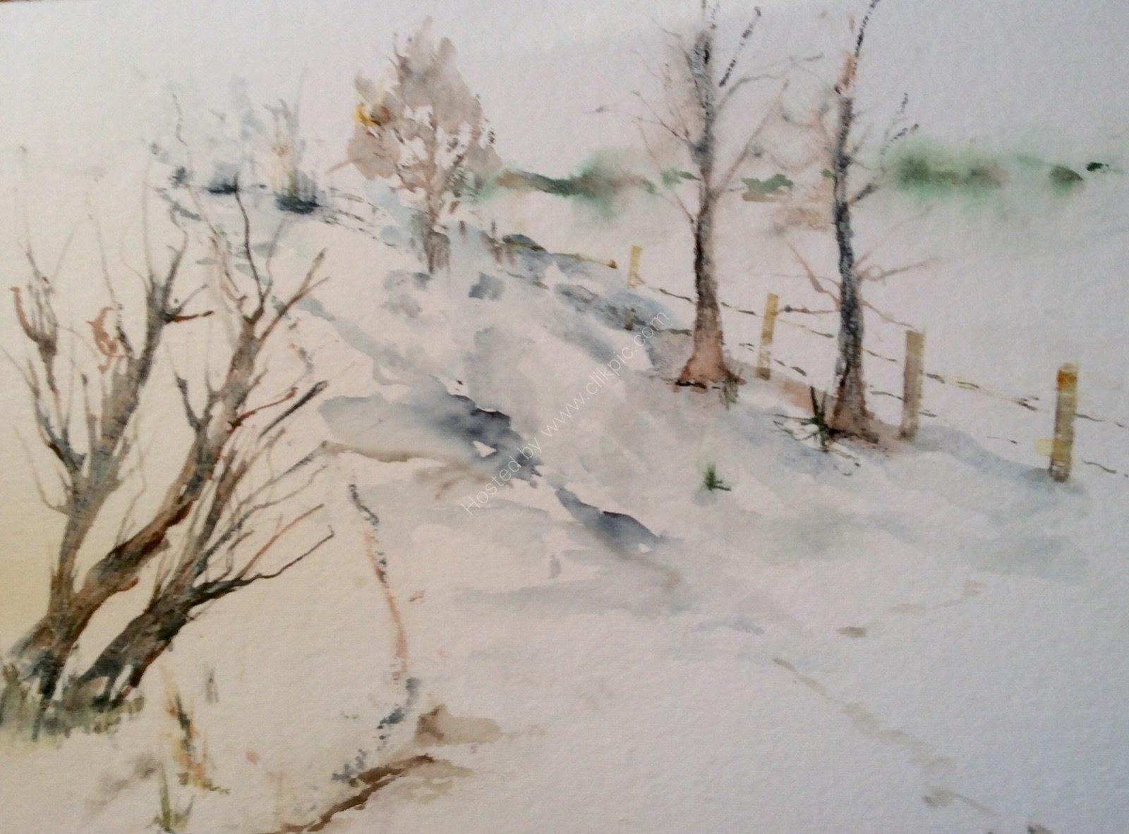 Down the lane snow is glistening