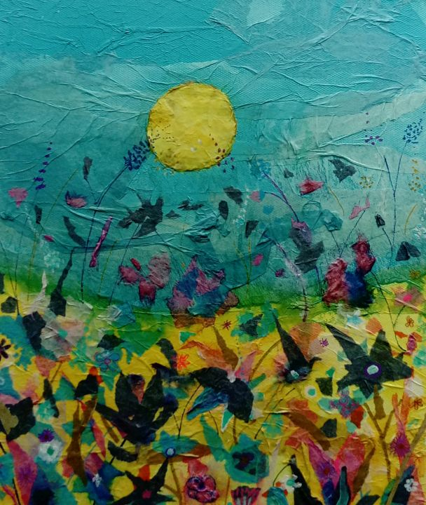 Summer field - blue and pink