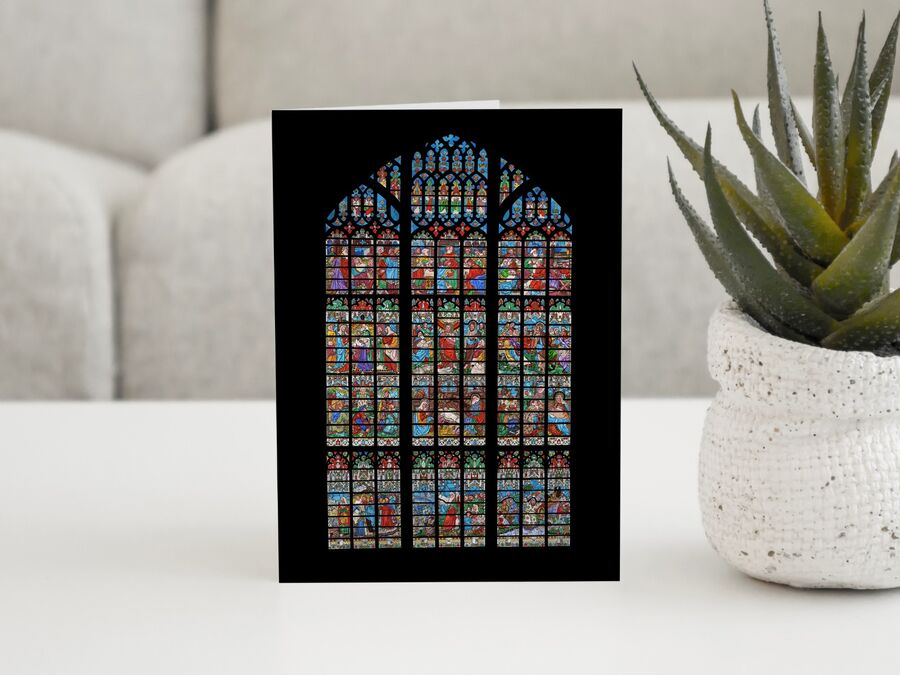 Gloucester Cathedral West Window Card (Black Background)