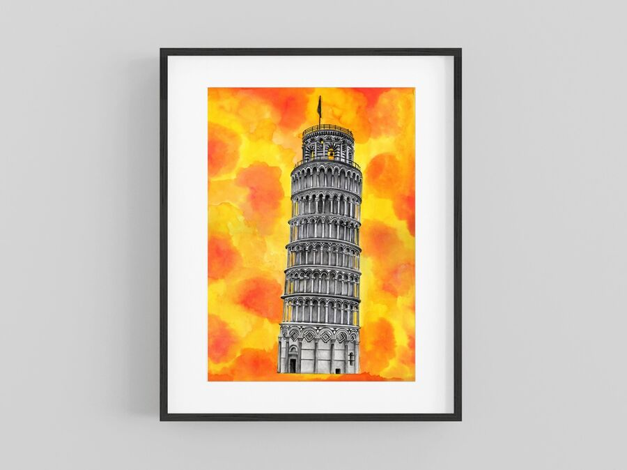 """""""Leaning Tower of Pisa"""" Giclee Print"""