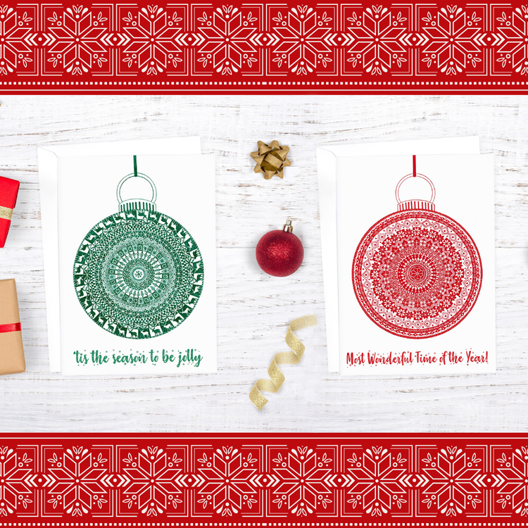 Green and Red Bauble Christmas Cards