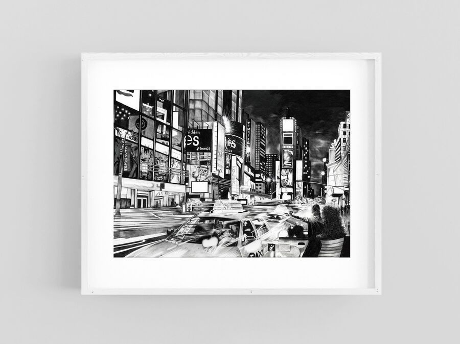 Times Square Print in White Frame