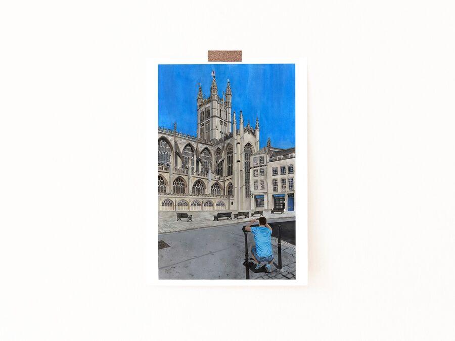 Tourist at Bath Abbey