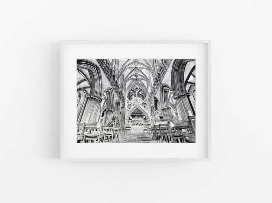 Wells Cathedral Print in White Frame