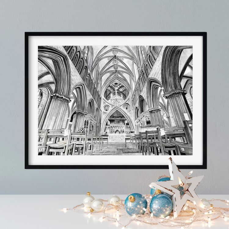 """""""Wells Cathedral"""" Giclee Print"""