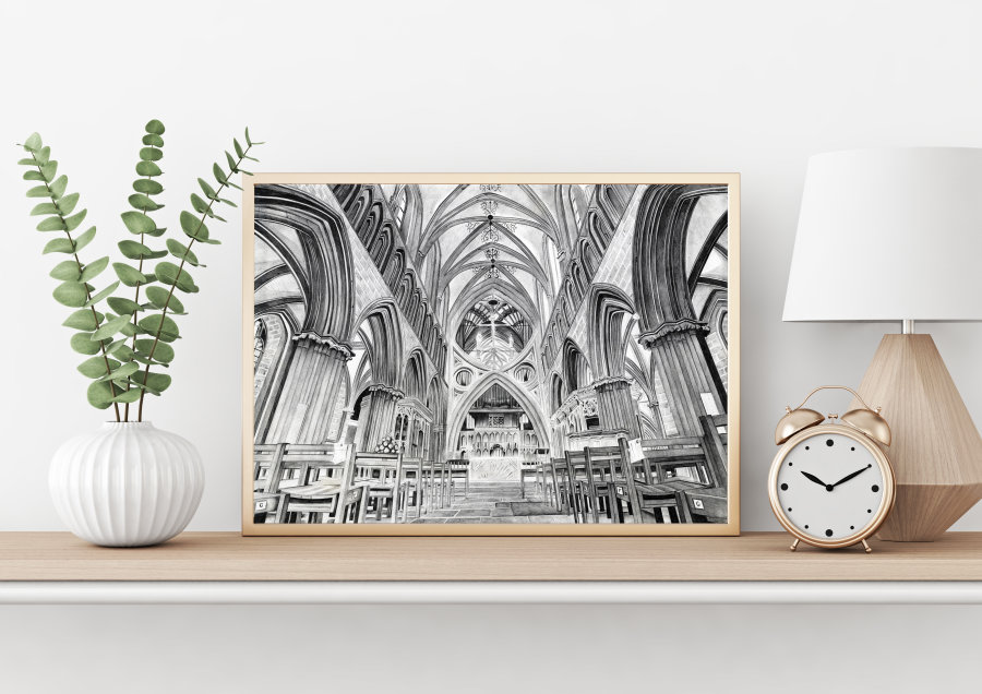 """Wells Cathedral"" Giclee Print"