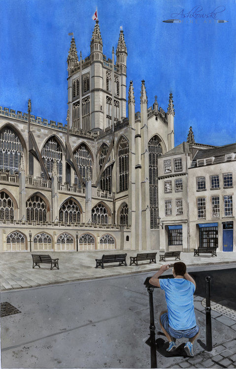 Tourist at Bath Abbey