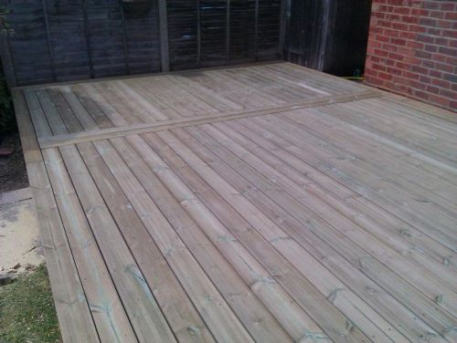 Softwood decking.