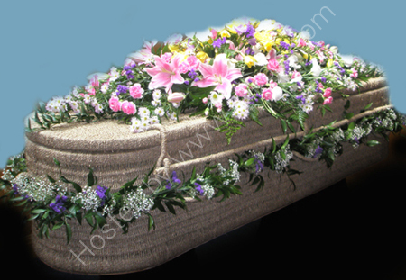 Decorated Wicker Casket<br> Mixed Flowers
