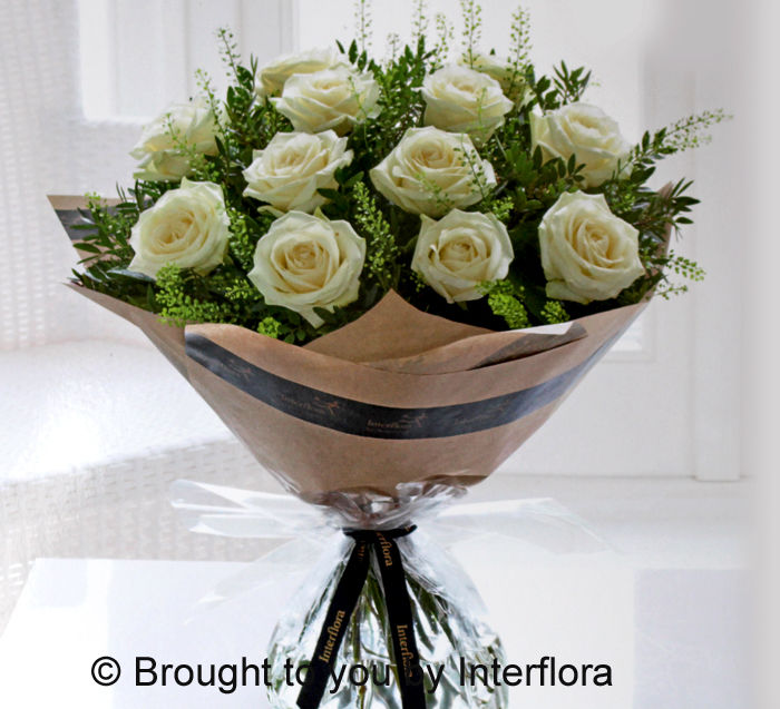 Dramatic Dozen White Roses £49