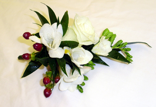 Freesia & Berry Corsage