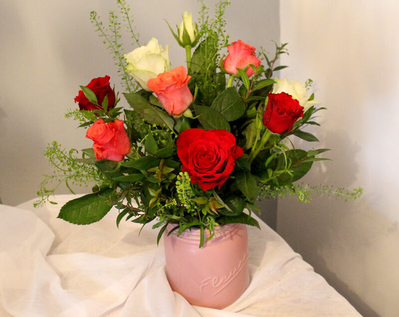 10 Mixed Roses Vase: £25 (inc delivery)